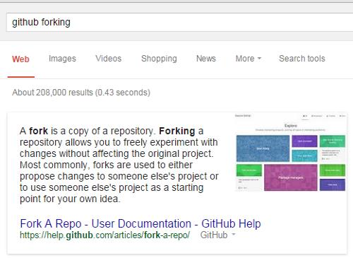 IMAGE- Definition of 'forking' at GitHub