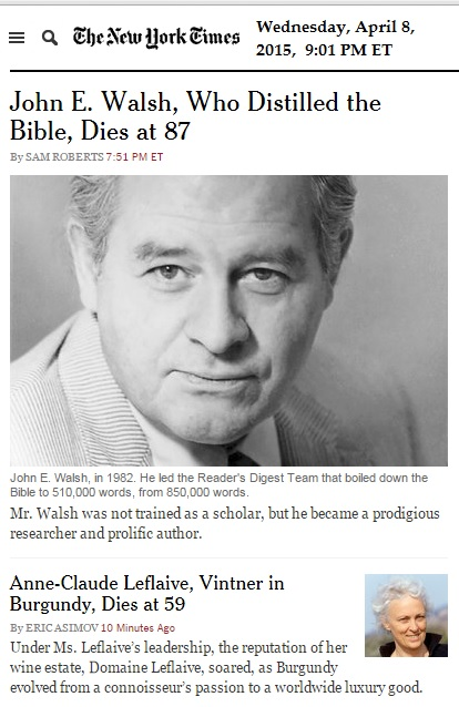 IMAGE- Obituaries for a 'distiller' of the Bible and a vintner of Burgundy