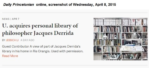 IMAGE- Daily Princetonian- U. acquires personal library of philosopher Jacques Derrida