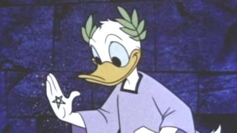 Donald Duck with Pythagorean pentagram on hand