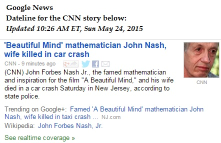 CNN on the death of John Nash