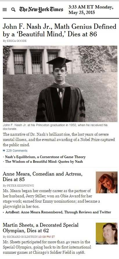 John Nash in New York Times obituaries