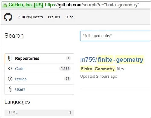 Search at GitHub on phrase 'finite geometry'