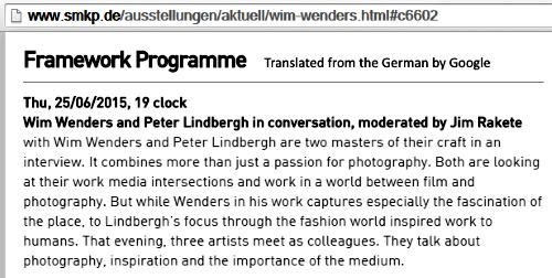'Wim Wenders and Peter Lindbergh in Conversation'