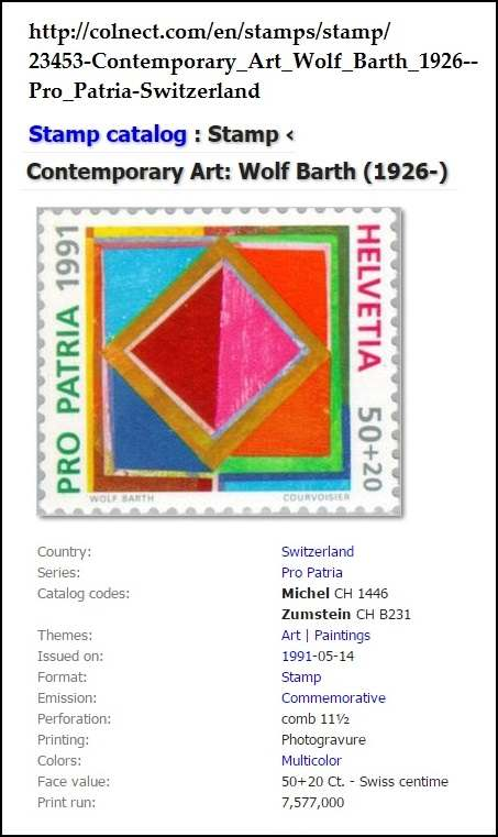 1991 Swiss commemorative stamp with painting by Wolf Barth