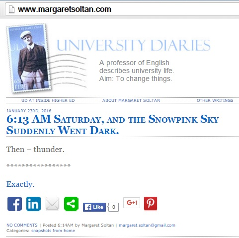 Margaret Soltan on thundersnow at 6:13 AM ET Saturday, Jan. 23, 2016