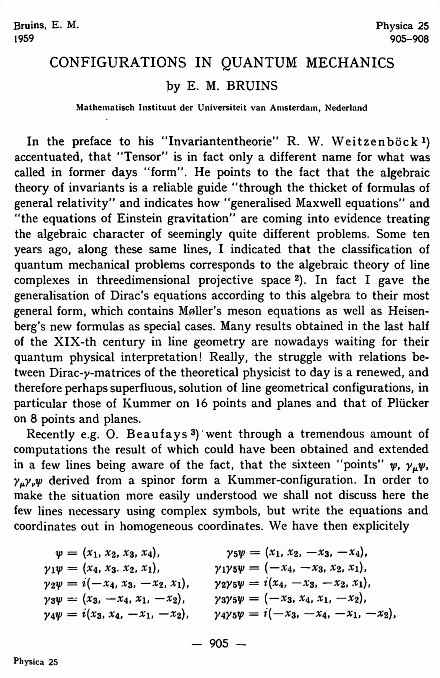 First page of 'Configurations in Quantum Mechanics,' by E.M. Bruins, 1959