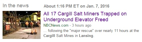 News of the Cargill salt mine in Lansing, NY