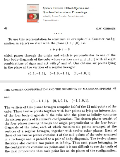 From Gary W. Gibbons, 'The Kummer Configuration and the Geometry of Majorana Spinors,' 1993, a cube model of the Kummer 16_6 configuration