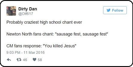 Tweet on 'Sausage Fest' chant'