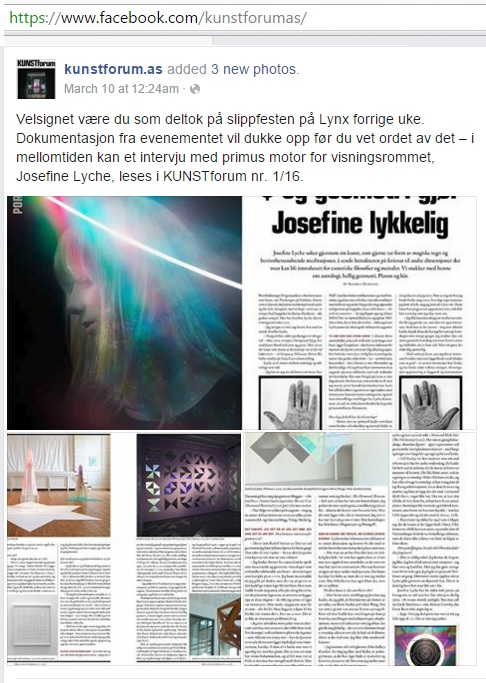 Article on Josefine Lyche's Vigeland Museum exhibit, which included Cullinane's eightfold cube