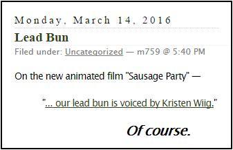 On the 2016 film 'Sausage Party'