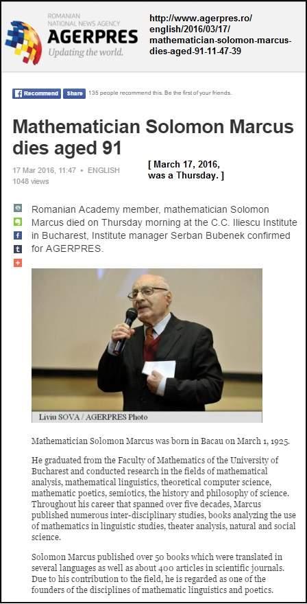 Solomon Marcus obituary