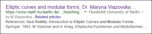 Maryna Viazovska's course on elliptic curves and modular forms used the Koblitz text.