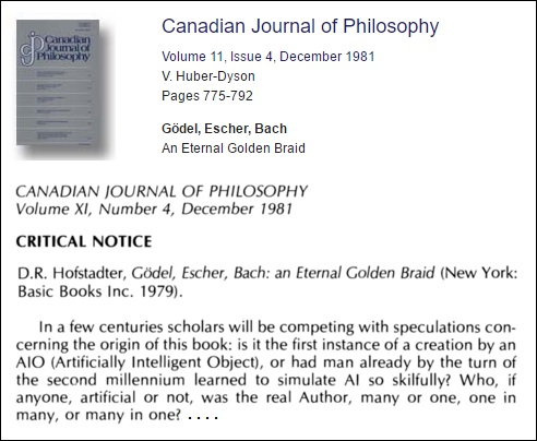 Huber-Dyson's Dec. 1981 review of Hofstadter's 'Gödel, Escher, Bach'
