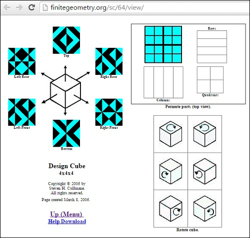 Webpage demonstrating symmetries of 'Solomon's Cube'