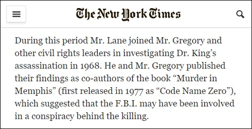 NY Times obit for Mark Lane with erroneous book title