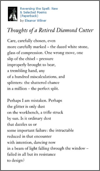 Poem by Eleanor Wilner from 'Reversing the Spell' speaks of diamonds and 'glitter.' (Pbk. publ. Nov. 1, 1997)