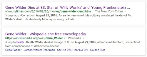 NY Times correction: Gene Wilder died early on Mon. Aug. 29, not on Sun. Aug. 28.