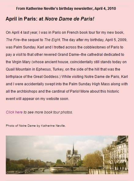 Katherine Neville, in Paris on book tour for 'The Fire,' was accidentally swept into a High Mass at Notre Dame.