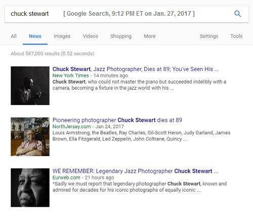 Three obituaries for Chuck Stewart, Jazz photographer