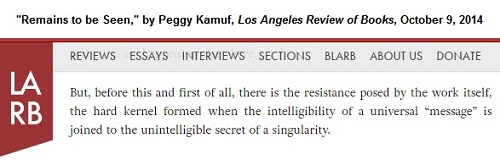 Kamuf, 'Remains to be Seen,' Los Angeles Review of Books