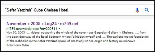 A search result for 'Sefer Yetzirah'+ Cube + Chelsea + Hotel