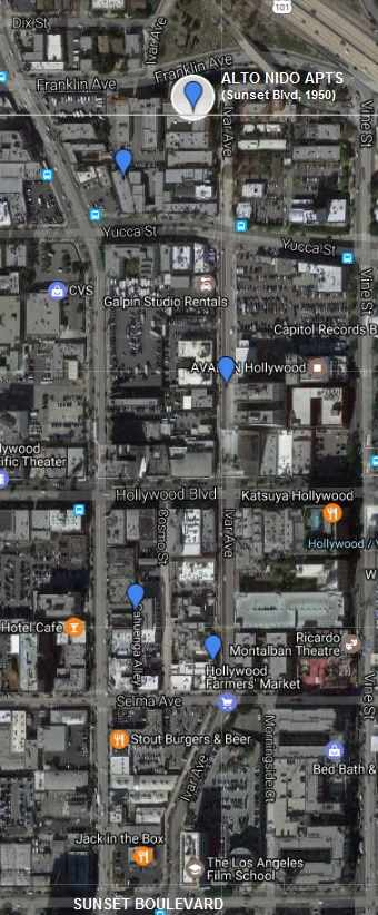 From Alto Nido Apts. to Sunset Boulevard: Aerial view including Los Angeles Film School