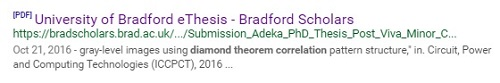 The diamond theorem correlation at the University of Bradford