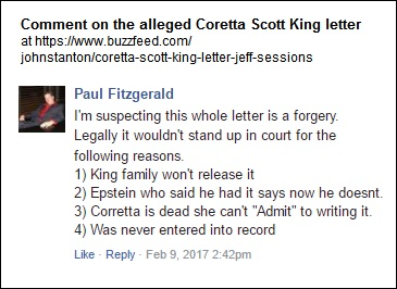 A reader suspects Coretta Scott King letter is a forgery
