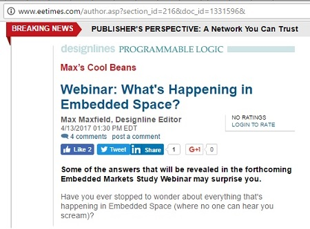 Max Maxfield: 'What's Happening in Embedded Space,' April 13, 2017