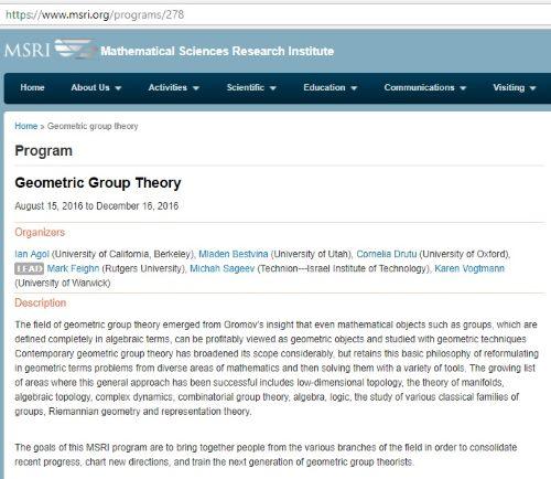 Geometric Group theory at MSRI (pronounced 'Misery')