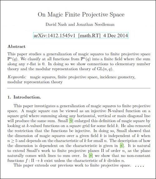 Nash and Needleman, 'On Magic Finite Projective Space,' Dec. 4, 2014