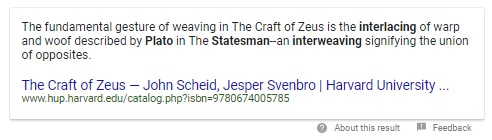 Google search result for Plato + Statesman + interlacing + interweaving