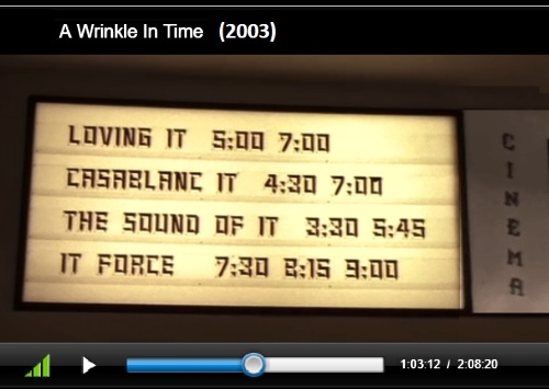 Movie marquee on Camazotz, from the 2003 film of 'A Wrinkle in Time'