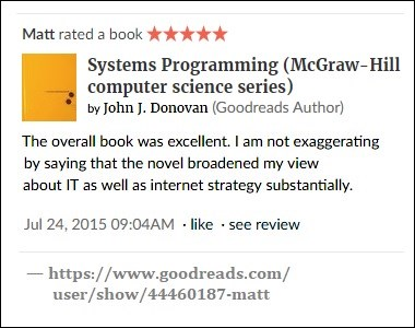 Goodreads review of 'Systems Programming,' a book by John J. Donovan
