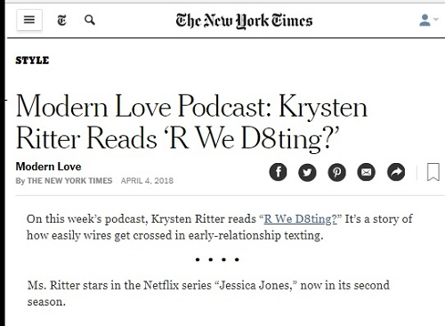 Krysten Ritter narrates a podcast that asks 'R We D8ting?'