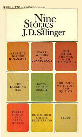 Salinger's 'Nine Stories,' paperback with 3x3 array of titles on cover, adapted in a Jan. 2, 2009, Log24 post on Nabokov's 1948 'Signs and Symbols'