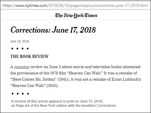 NY Times correction, online June 16, about 'Here Comes Mr. Jordan' and 'Heaven Can Wait'