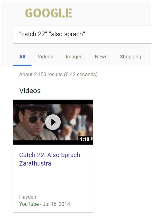Search for 'Catch-22' + 'Also sprach'