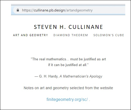 Portfolio on art and geometry of Steven H. Cullinane