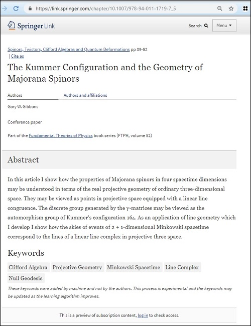 The Gibbons paper on the geometry of Majorana spinors and the Kummer configuration