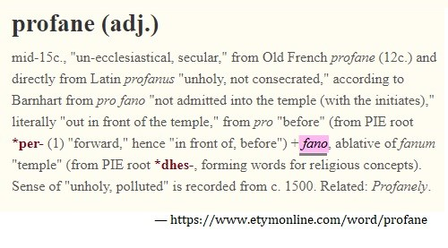 Etymology of 'profane'
