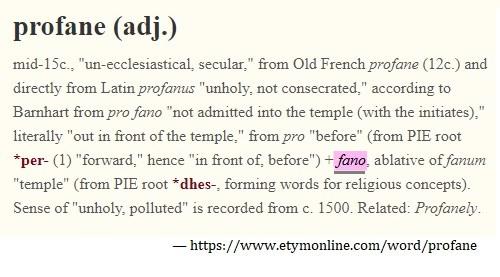Etymology of 'profane'