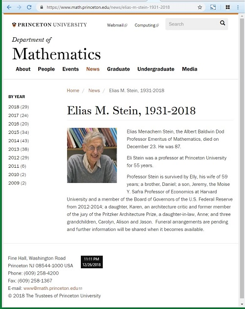Princeton mathematician Elias Stein died Dec. 23, 2018, at 87.