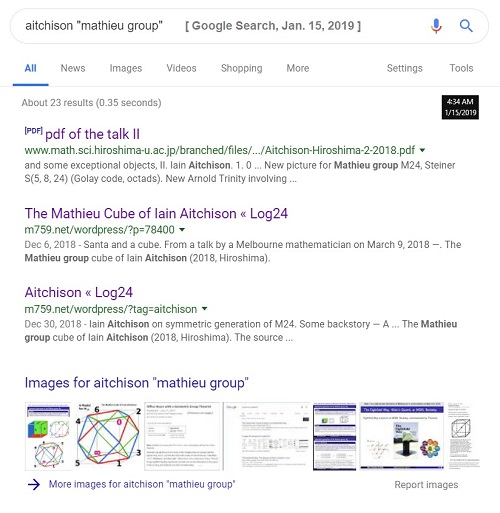 Results of a 15 Jan. 2019 search for Aitchison + 'Mathieu group'