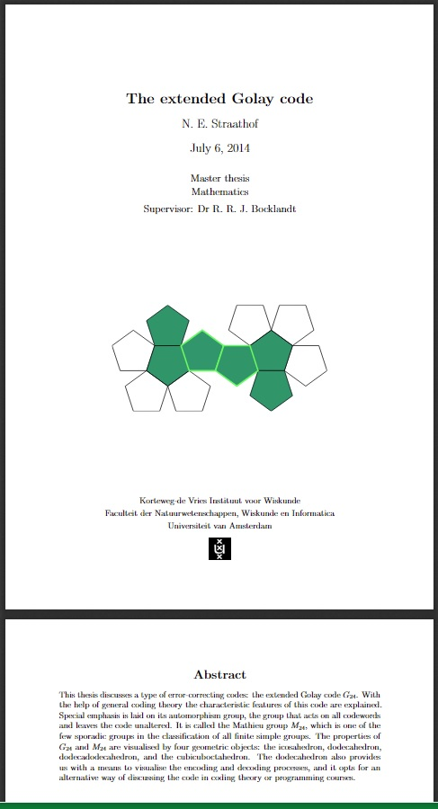 July 6, 2014, Amsterdam master's thesis on geometric models of the Golay code and Mathieu group