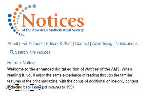 Feb. 22, 2019 — AMS Notices back issues now available.