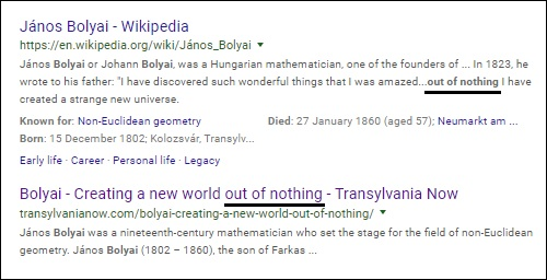 Bolyai 'worlds out of nothing' quote