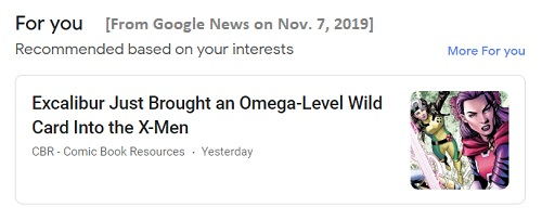 Google News 'For you' comic book news item